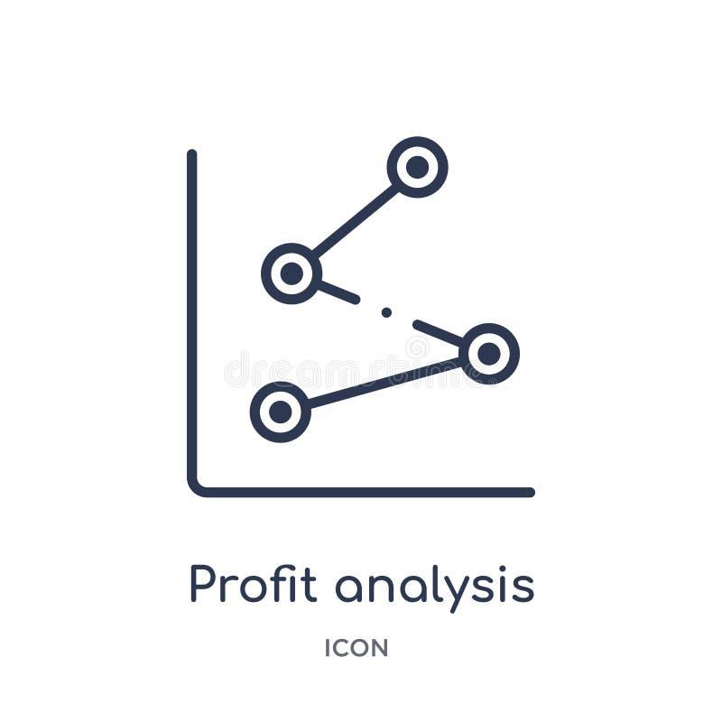 Ícone linear da análise do lucro da coleção do esboço do negócio e da analítica Linha fina vetor da análise do lucro isolado no b ilustração royalty free