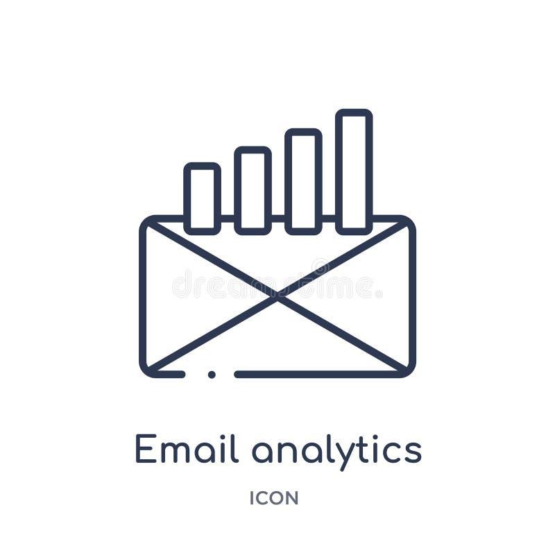 Ícone linear da analítica do e-mail da coleção do esboço do negócio e da analítica Linha fina vetor da analítica do e-mail isolad ilustração royalty free
