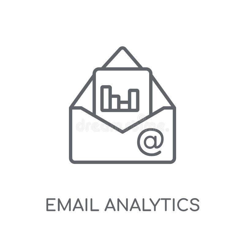 Ícone linear da analítica do e-mail Logotipo moderno da analítica do e-mail do esboço ilustração stock