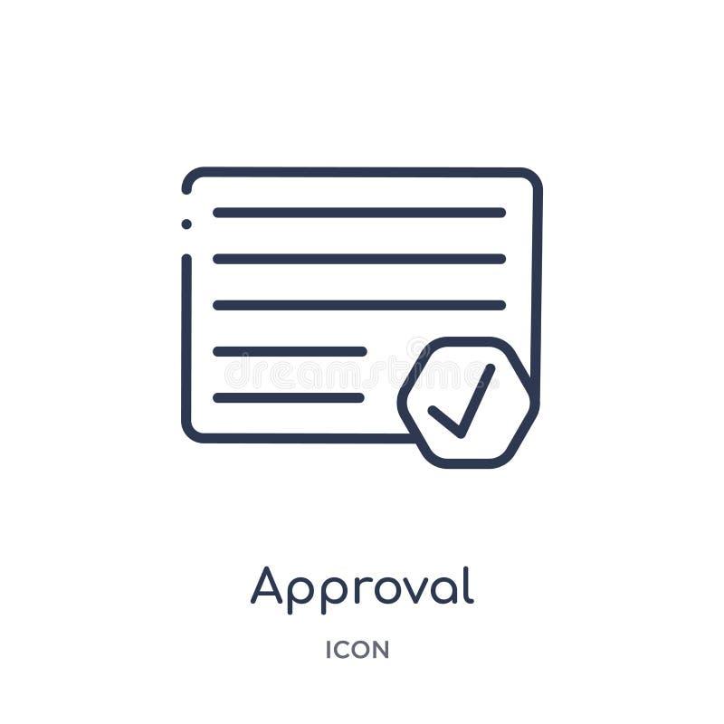 Ícone linear da aprovação da coleção do esboço dos recursos humanos Linha fina ícone da aprovação isolado no fundo branco aprovaç ilustração stock