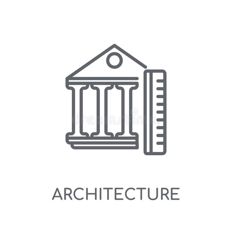 Ícone linear da arquitetura Conce moderno do logotipo da arquitetura do esboço ilustração stock