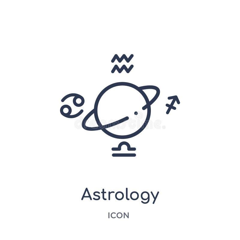 Ícone linear da astrologia da coleção do esboço da astronomia Linha fina vetor da astrologia isolado no fundo branco astrologia n ilustração stock