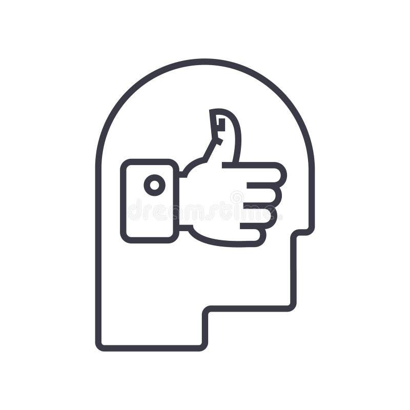 Ícone linear da boa cabeça da ideia, sinal, símbolo, vetor no fundo isolado ilustração stock