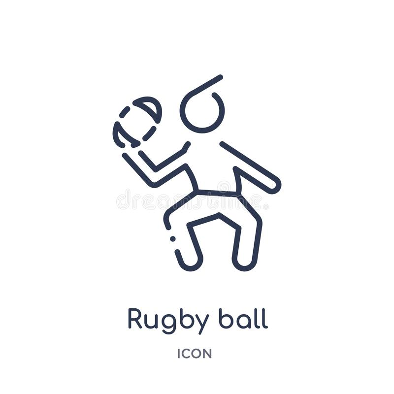 Ícone linear da bola de rugby da coleção do esboço do tempo livre Linha fina vetor da bola de rugby isolado no fundo branco Bola  ilustração royalty free