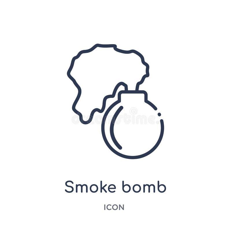 Ícone linear da bomba de fumo da coleção asiática do esboço Linha fina vetor da bomba de fumo isolado no fundo branco bomba de fu ilustração stock