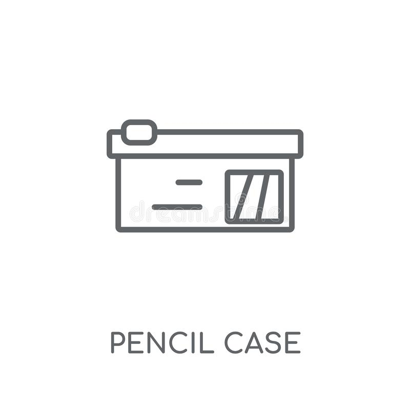 Ícone linear da caixa de lápis Conceito moderno do logotipo da caixa de lápis do esboço ilustração stock