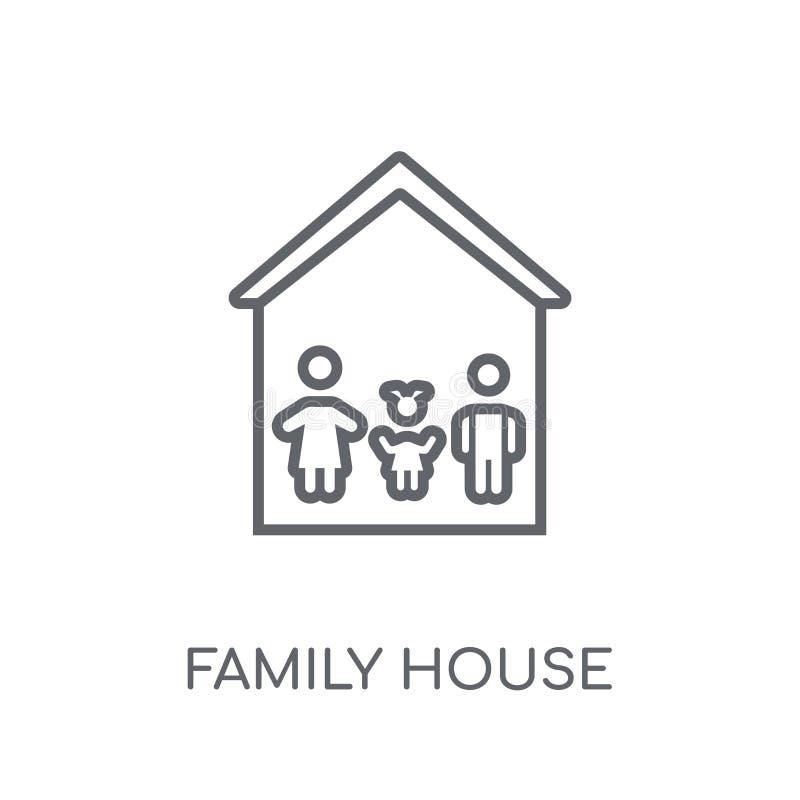 Ícone linear da casa da família Conce moderno do logotipo da casa da família do esboço ilustração do vetor