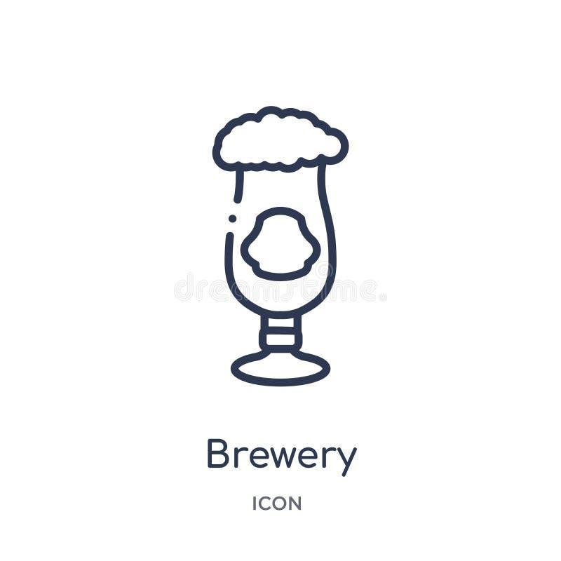 Ícone linear da cervejaria da coleção do esboço das bebidas Linha fina vetor da cervejaria isolado no fundo branco cervejaria na  ilustração do vetor