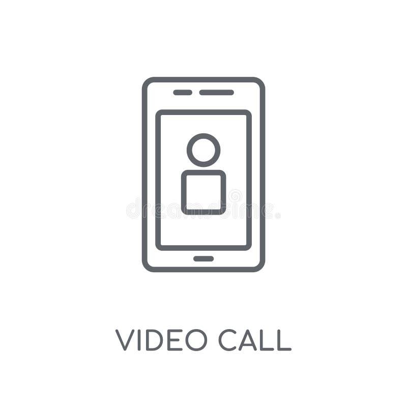 Ícone linear da chamada video Conceito video o do logotipo da chamada do esboço moderno ilustração royalty free