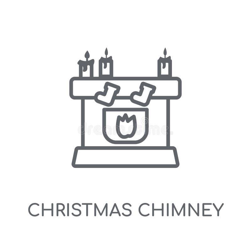 Ícone linear da chaminé do Natal Chaminé moderna do Natal do esboço ilustração do vetor