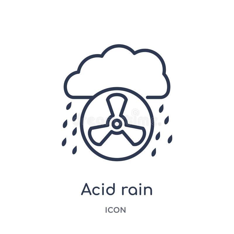 Ícone linear da chuva ácida da coleção do esboço da ecologia e do ambiente Linha fina ícone da chuva ácida isolado no fundo branc ilustração do vetor