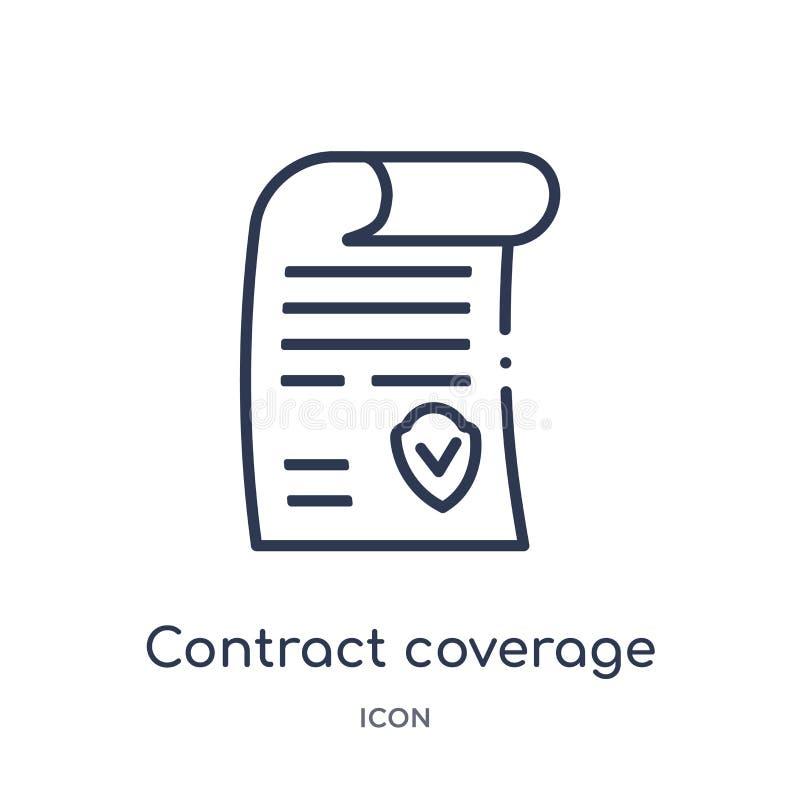 Ícone linear da cobertura do contrato da coleção do esboço do seguro Linha fina ícone da cobertura do contrato isolado no fundo b ilustração stock