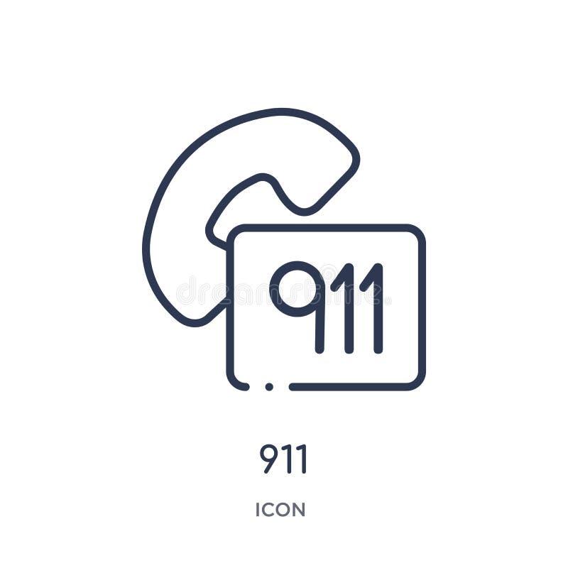 Ícone 911 linear da coleção alerta do esboço Linha fina 911 vetor isolado no fundo branco ilustração 911 na moda ilustração royalty free