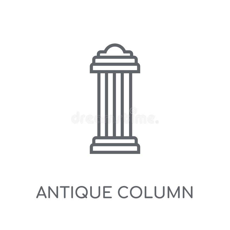 ícone linear da coluna antiga Logotipo antigo c da coluna do esboço moderno ilustração royalty free