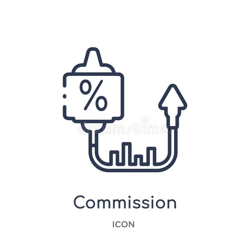 Ícone linear da comissão da coleção de mercado do esboço Linha fina ícone da comissão isolado no fundo branco commission ilustração do vetor