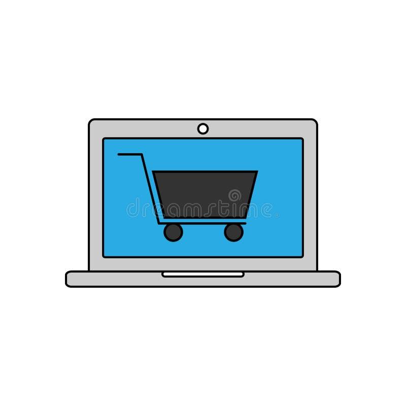 Ícone linear da compra em linha Ilustração do vetor ilustração stock