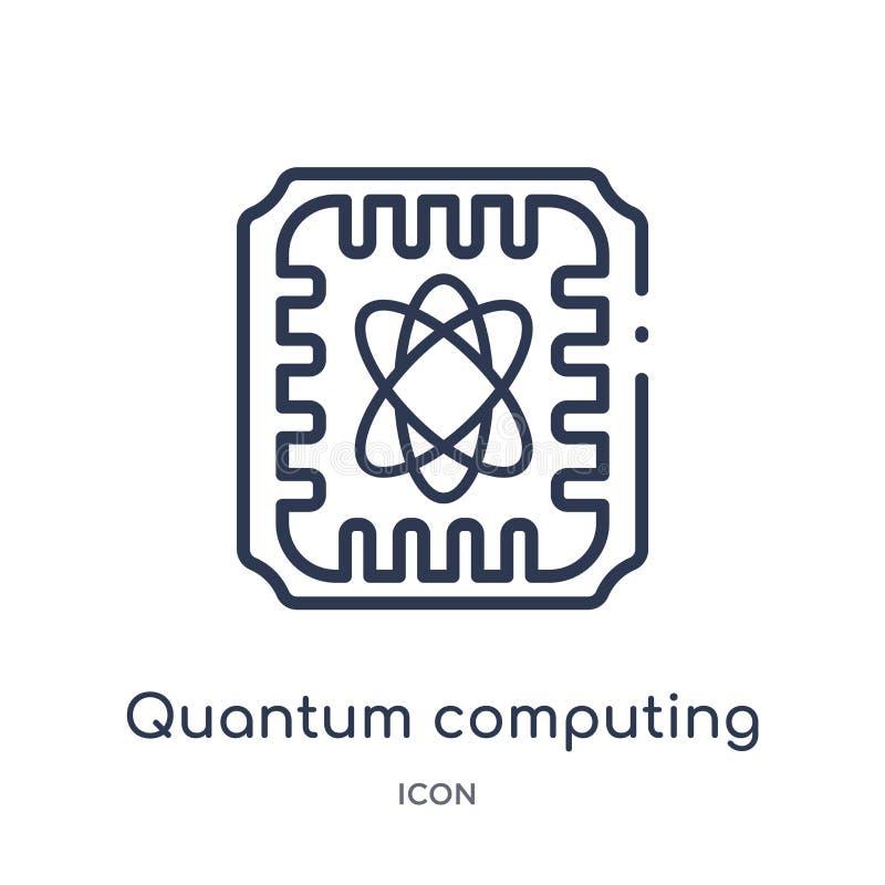 Ícone linear da computação de quantum do intellegence artificial e da coleção futura do esboço da tecnologia Linha fina computaçã ilustração royalty free