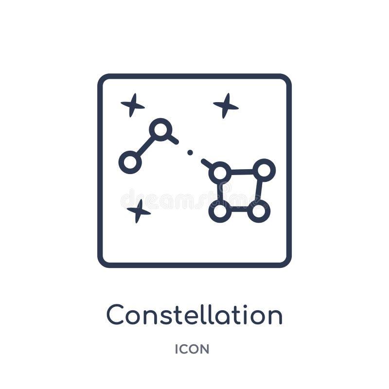 Ícone linear da constelação da coleção do esboço da astronomia Linha fina vetor da constelação isolado no fundo branco ilustração do vetor