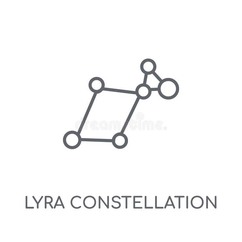 Ícone linear da constelação de Lyra Esboço moderno Lyra Constellatio ilustração stock