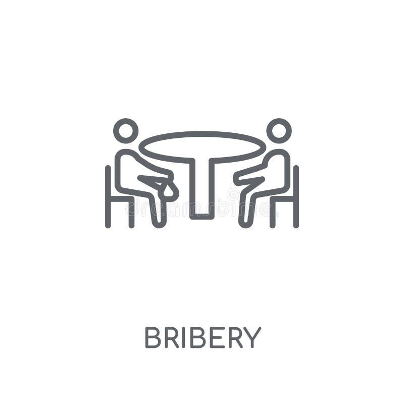 Ícone linear da corrupção Conceito moderno do logotipo da corrupção do esboço no whit ilustração do vetor