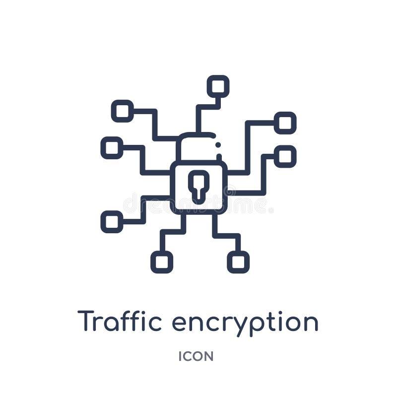 Ícone linear da criptografia do tráfego da segurança do Internet e da coleção do esboço dos trabalhos em rede Linha fina ícone da ilustração stock