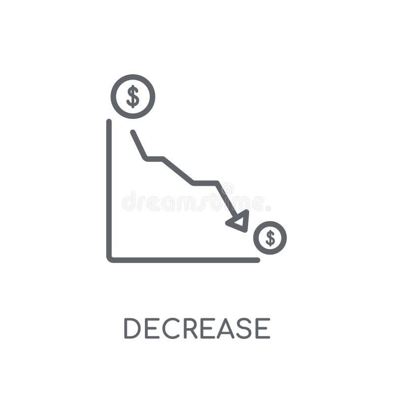 Ícone linear da diminuição Conceito moderno do logotipo da diminuição do esboço no wh ilustração do vetor