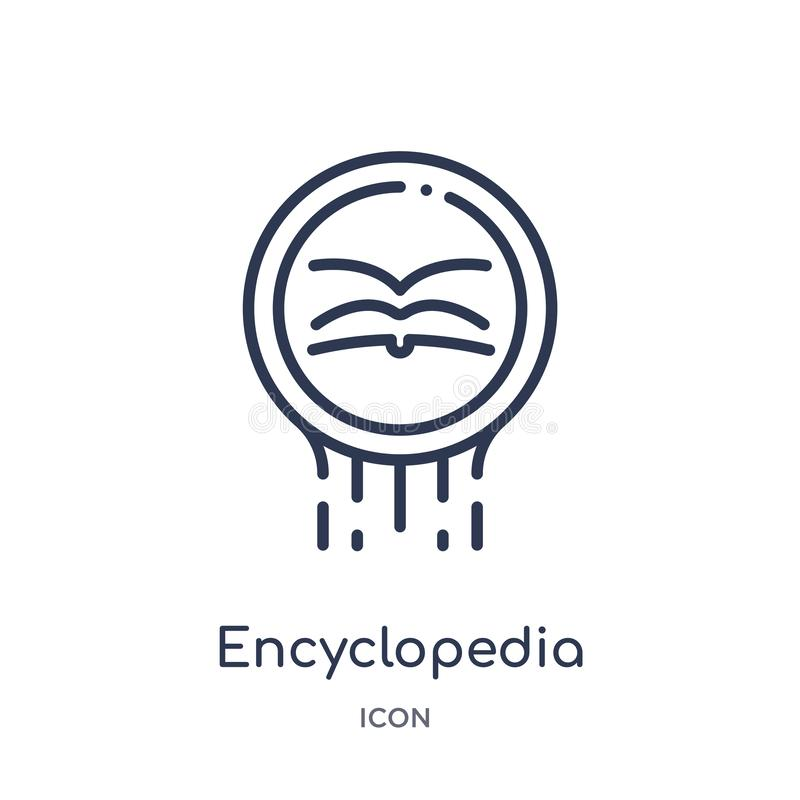 Ícone linear da enciclopédia da coleção do esboço do logotipo Linha fina ícone da enciclopédia isolado no fundo branco enciclopéd ilustração royalty free