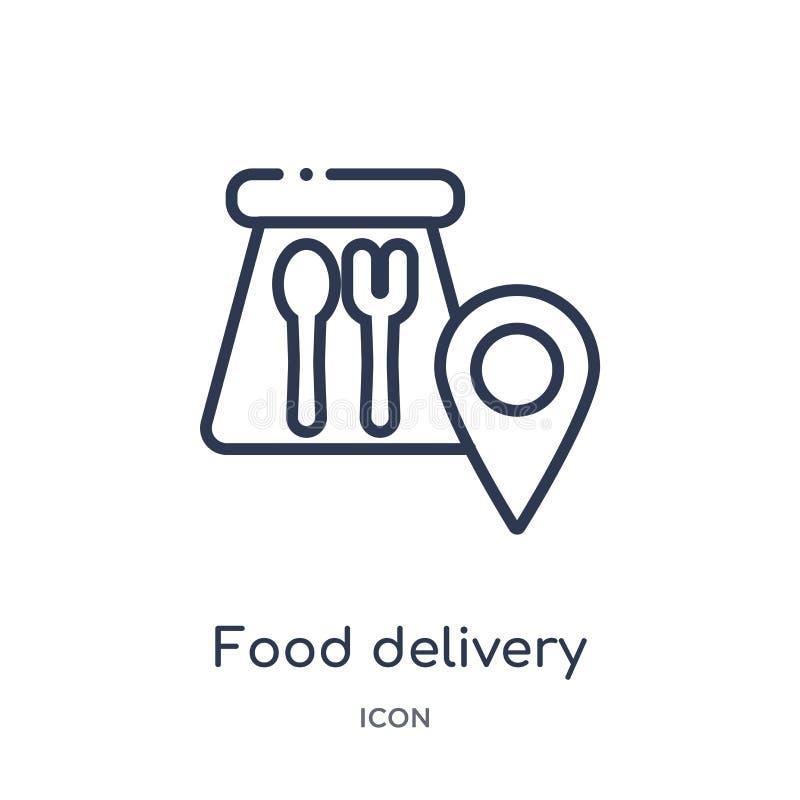Ícone linear da entrega do alimento da coleção do esboço geral Linha fina ícone da entrega do alimento isolado no fundo branco Al ilustração royalty free