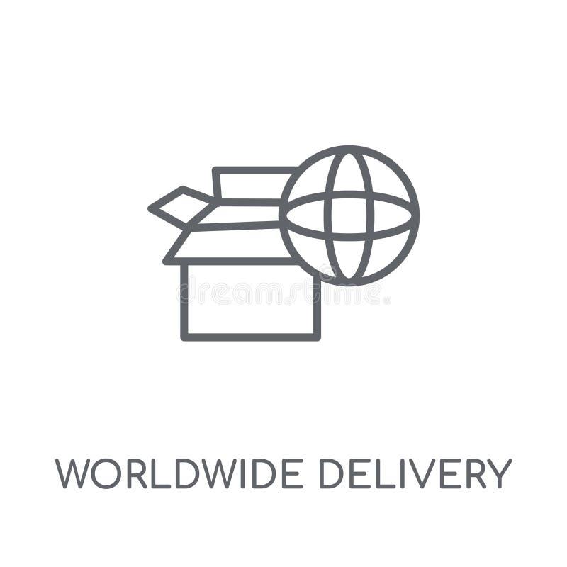 ícone linear da entrega mundial Esboço moderno no mundo inteiro para entregar ilustração stock