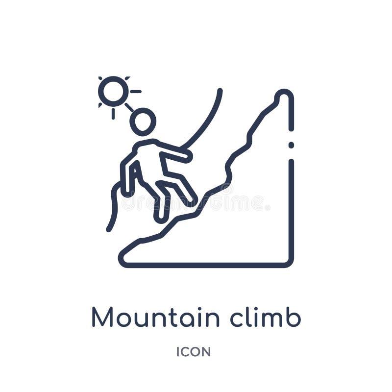 Ícone linear da escalada da montanha da coleção do esboço dos seres humanos Linha fina ícone da escalada da montanha isolado no f ilustração royalty free
