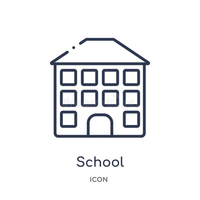 Ícone linear da escola da coleção do esboço da educação Linha fina vetor da escola isolado no fundo branco escola na moda ilustração stock