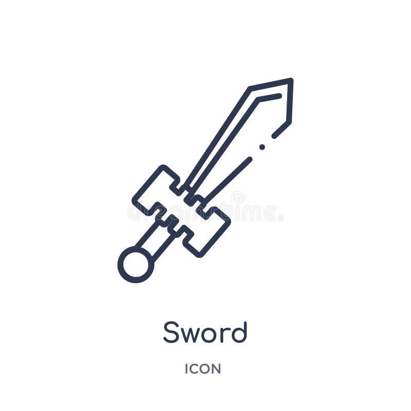 Ícone linear da espada da coleção do esboço da história Linha fina ícone da espada isolado no fundo branco ilustração na moda da  ilustração do vetor