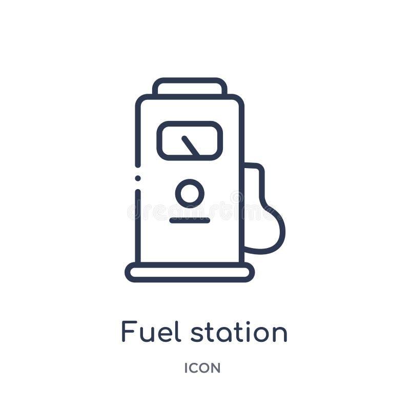 Ícone linear da estação do combustível da coleção do esboço da indústria Linha fina ícone da estação do combustível isolado no fu ilustração do vetor