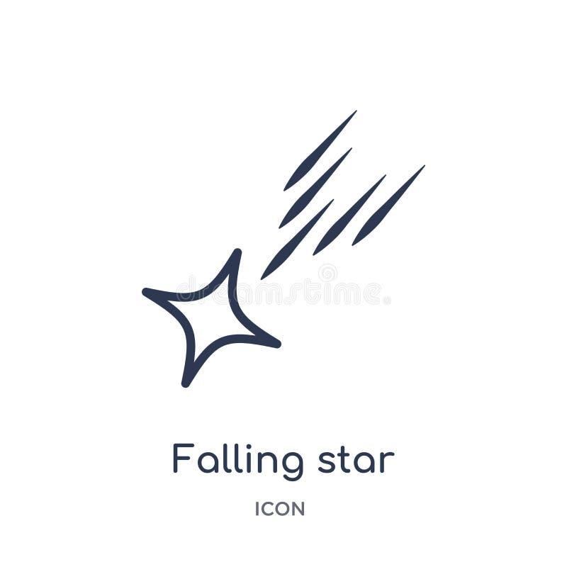 Ícone linear da estrela de queda da coleção do esboço da astronomia Linha fina vetor da estrela de queda isolado no fundo branco  ilustração do vetor