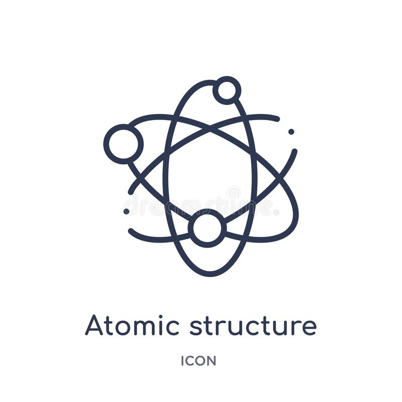 Ícone linear da estrutura atômica da coleção médica do esboço Linha fina ícone da estrutura atômica isolado no fundo branco atômi ilustração stock