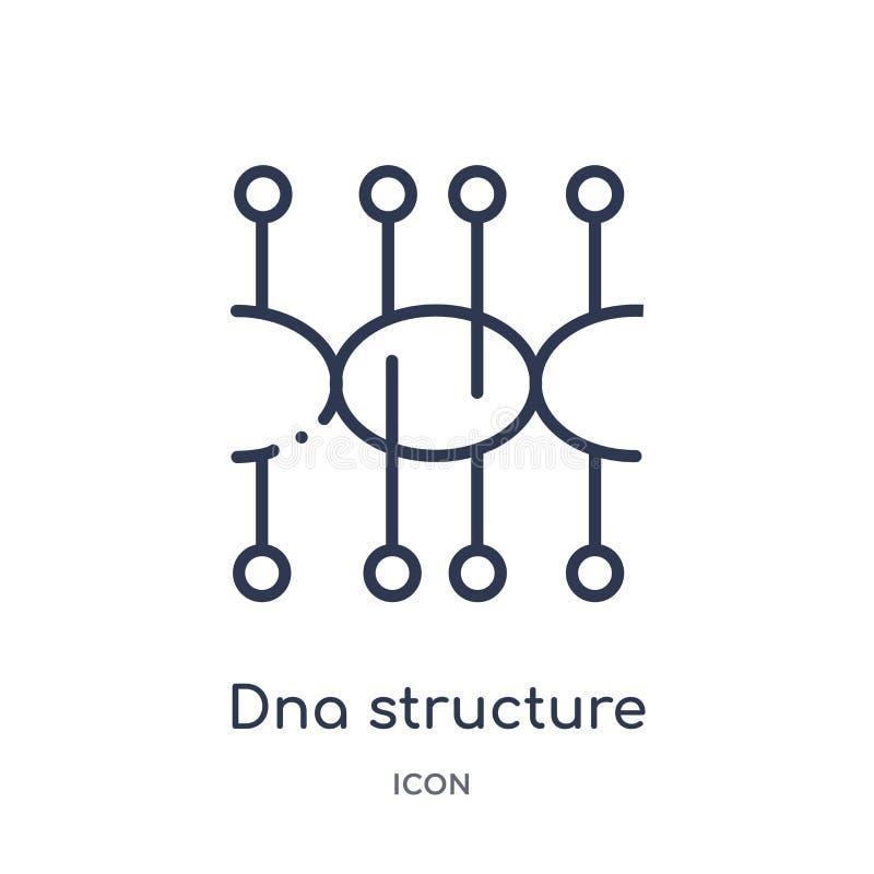 Ícone linear da estrutura do ADN da coleção futura do esboço da tecnologia Linha fina ícone da estrutura do ADN isolado no fundo  ilustração stock