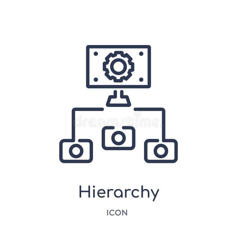 Ícone linear da estrutura da hierarquia da coleção do esboço do negócio Linha fina ícone da estrutura da hierarquia isolado no fu ilustração royalty free