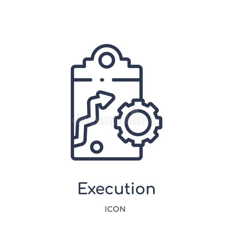 Ícone linear da execução da coleção de mercado do esboço Linha fina ícone da execução isolado no fundo branco execução na moda ilustração do vetor