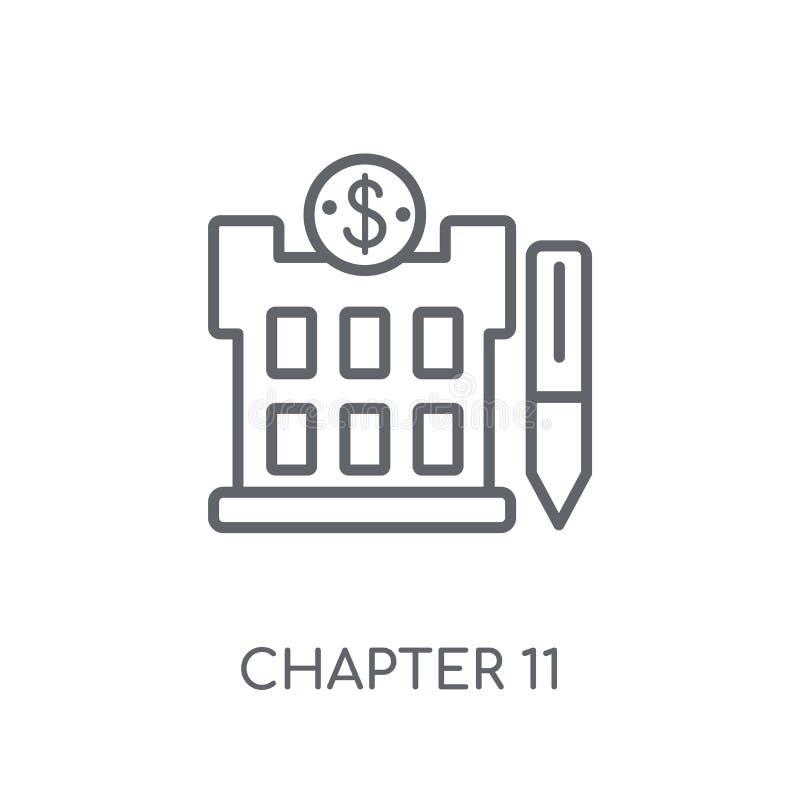 Ícone linear da falência do capítulo 11 Proibição moderna do capítulo 11 do esboço ilustração do vetor