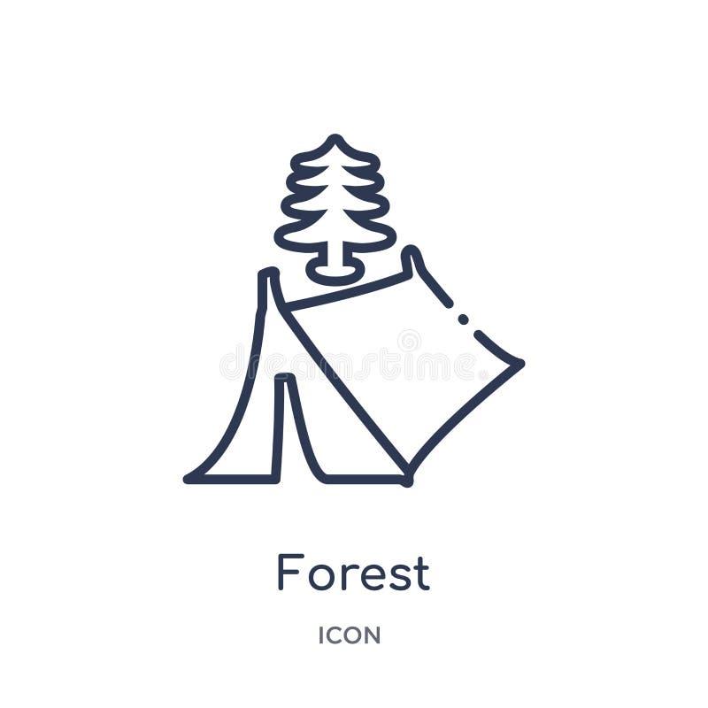 Ícone linear da floresta da coleção de acampamento do esboço Linha fina vetor da floresta isolado no fundo branco floresta na mod ilustração royalty free