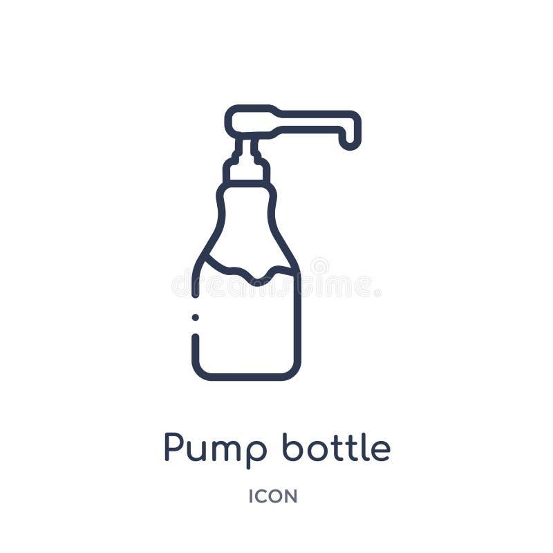Ícone linear da garrafa da bomba da coleção do esboço da higiene Linha fina ícone da garrafa da bomba isolado no fundo branco Gar ilustração stock