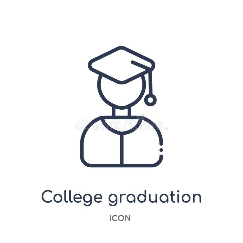 Ícone linear da graduação da faculdade da coleção do esboço da educação Linha fina ícone da graduação da faculdade isolado no fun ilustração royalty free
