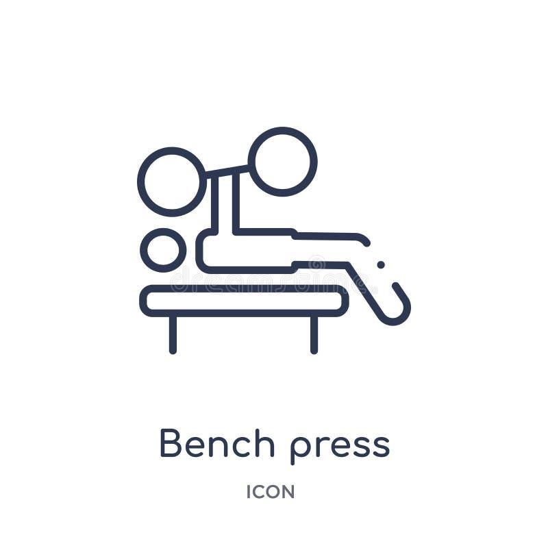Ícone linear da imprensa de banco da coleção do esboço do equipamento do Gym Linha fina ícone da imprensa de banco isolado no fun ilustração stock