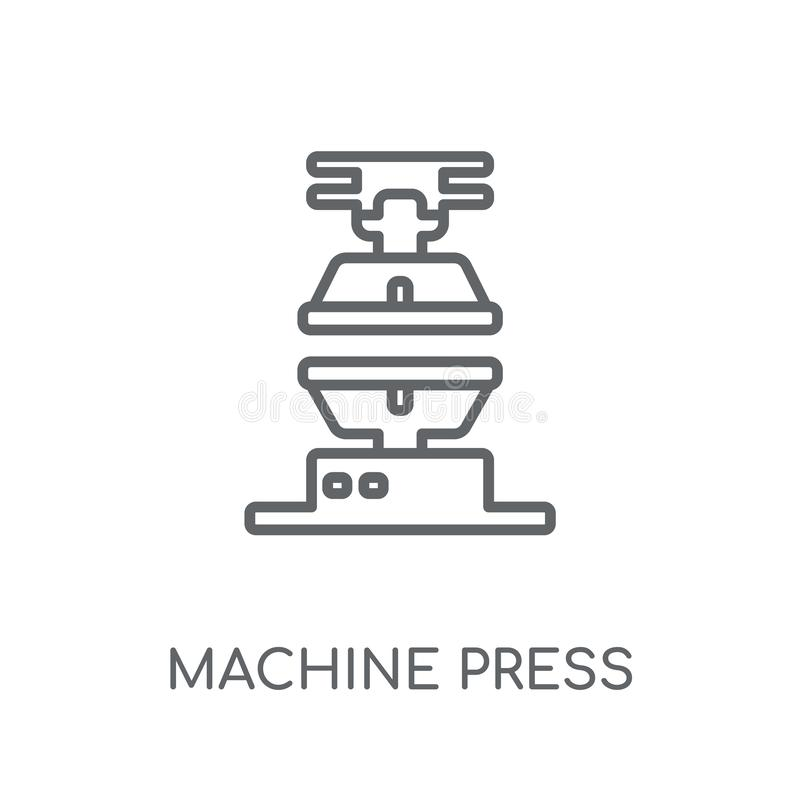 Ícone linear da imprensa da máquina Engodo moderno do logotipo da imprensa da máquina do esboço ilustração do vetor
