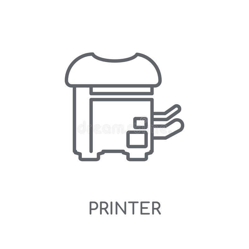 Ícone linear da impressora Conceito moderno do logotipo da impressora do esboço no whit ilustração do vetor