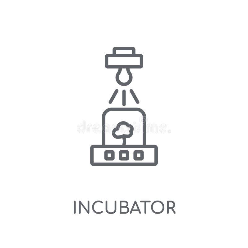 Ícone linear da incubadora Conceito moderno do logotipo da incubadora do esboço sobre ilustração royalty free