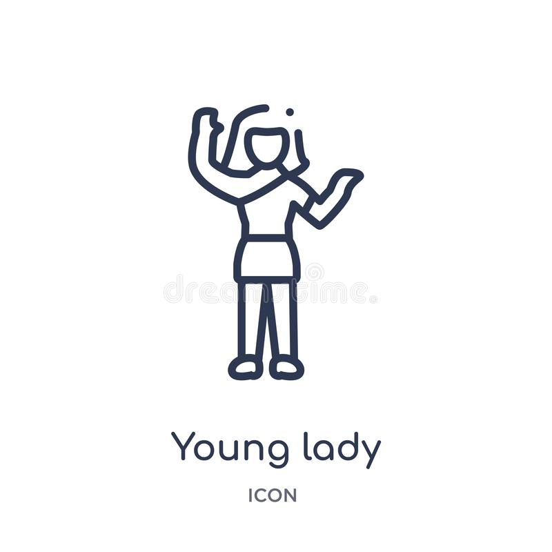 Ícone linear da jovem senhora da coleção do esboço das senhoras Linha fina ícone da jovem senhora isolado no fundo branco jovem s ilustração royalty free