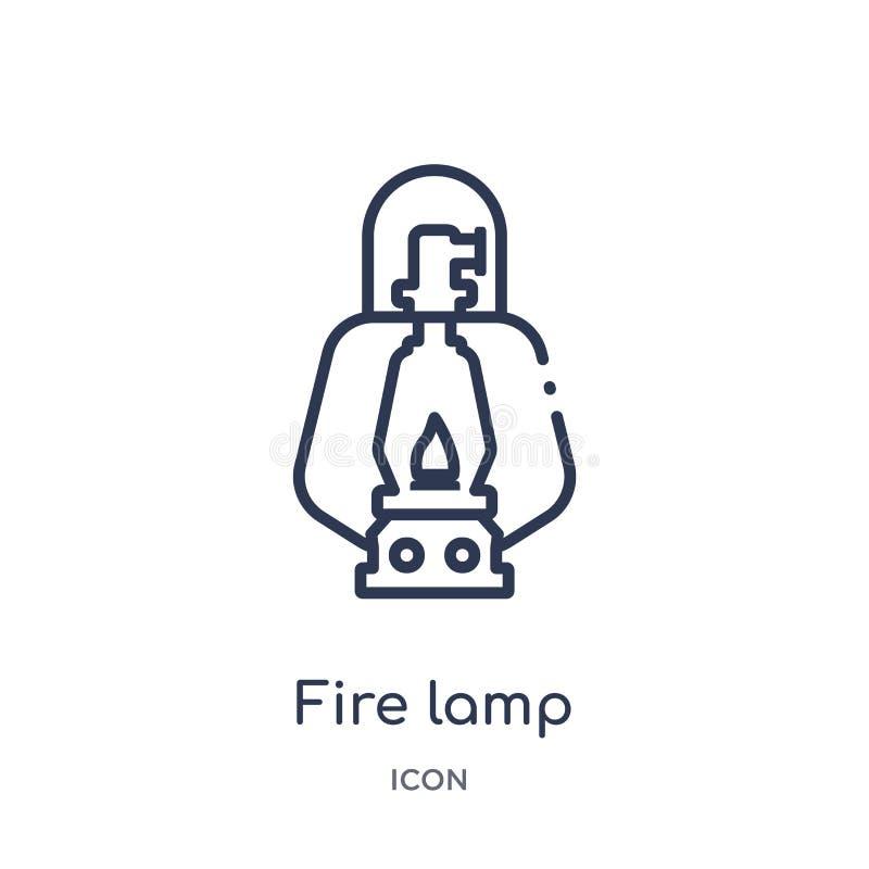 Ícone linear da lâmpada do fogo da coleção de acampamento do esboço Linha fina vetor da lâmpada do fogo isolado no fundo branco l ilustração stock