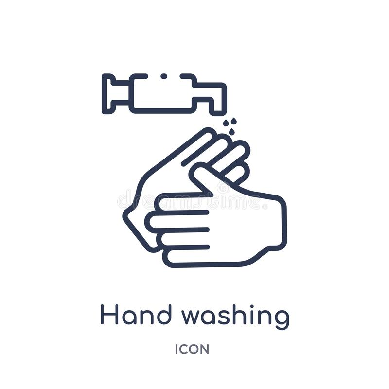 Ícone linear da lavagem da mão da coleção de limpeza do esboço Linha fina vetor da lavagem da mão isolado no fundo branco Mão ilustração royalty free