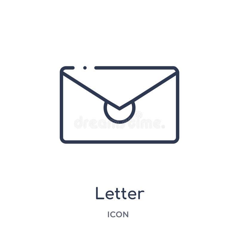 Ícone linear da letra da coleção do esboço da educação Linha fina vetor da letra isolado no fundo branco letra na moda ilustração royalty free